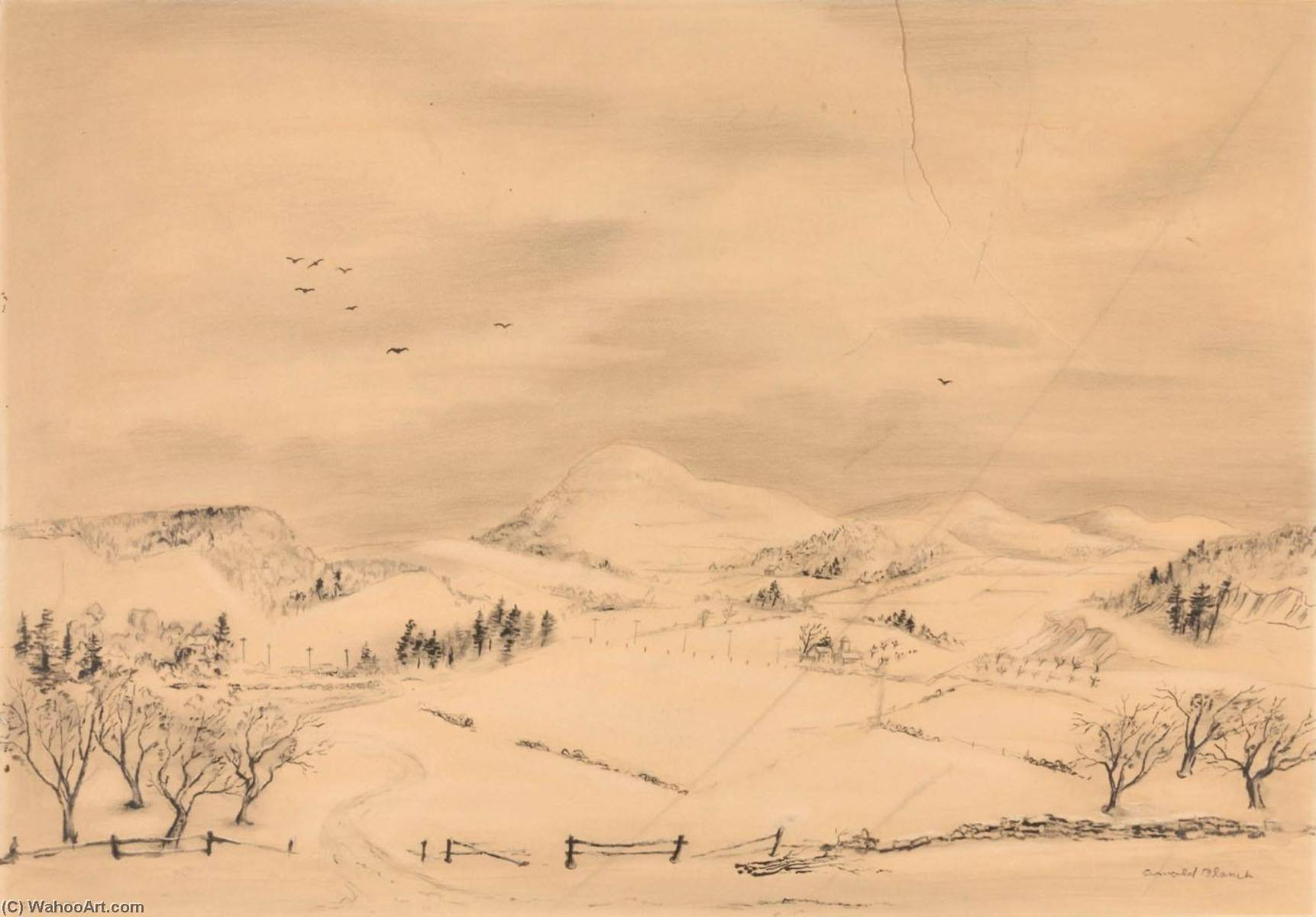 Winter Day, Pen by Arnold Blanch (1896-1968, United States)