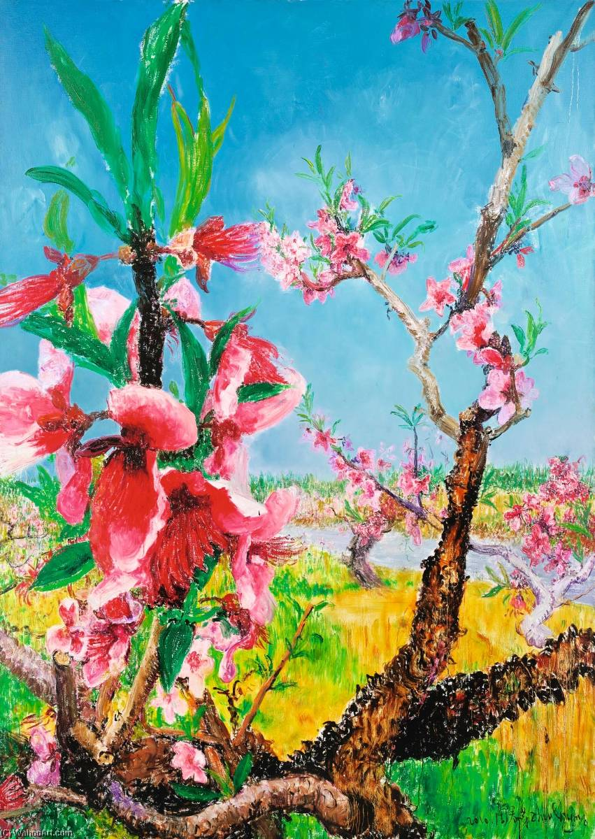 Peach Blossom by Zhou Chunya | Famous Paintings Reproductions | WahooArt.com