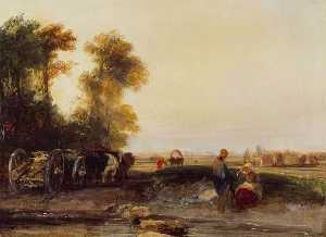 Richard Parkes Bonington - Landscape with Timber Waggon