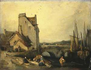 Richard Parkes Bonington - View in Brittany Bridge, Cottages and Washerwomen