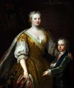 William Aikman - Caroline of Brandenburg Ansbach (1683–1737), and Her Son Prince William Augustus (1721–1765), Duke of Cumberland