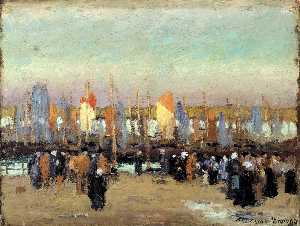 George Elmer Browne - Harbor Scene with Fishing Boats