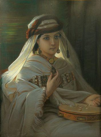Jeune marocaine au tambourin (Young Moroccan with tambourine) by Constant Joseph Brochart (1816-1899) | Famous Paintings Reproductions | WahooArt.com