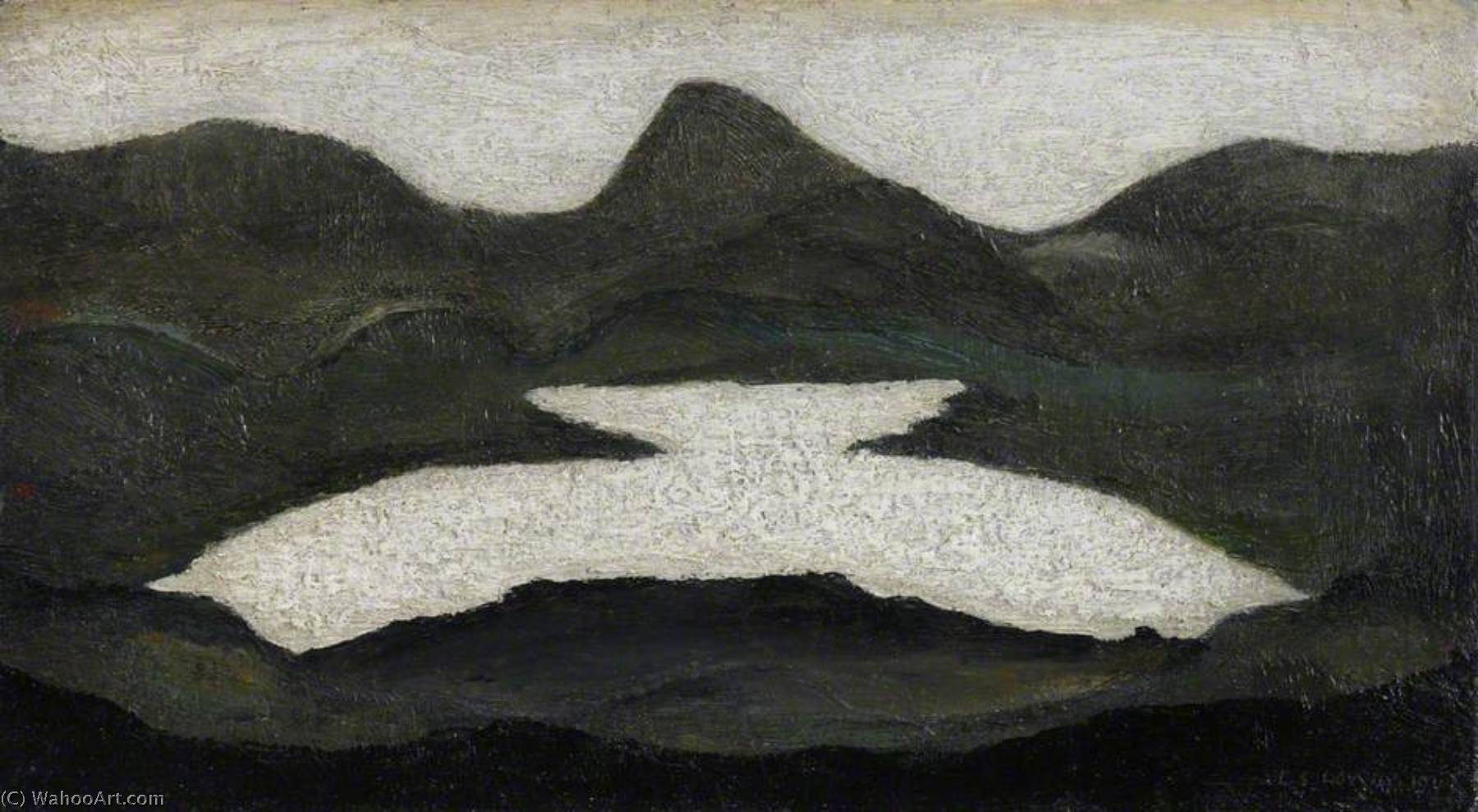 Mountain Lake, Oil by Lawrence Stephen Lowry (1887-1976, United Kingdom)