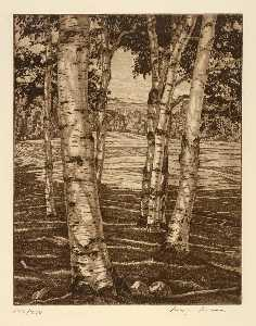 Luigi Lucioni - Birches and Beyond