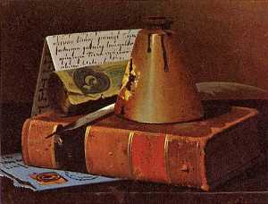John Frederick Peto - Still Life with Inkwell, Plume Old Book, (painting)