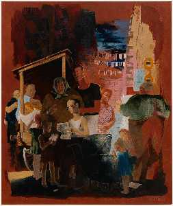 Kindred Mcleary - Scenes of New York Lower East Side (mural study, Madison Square Postal Station, New York City)