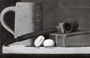 John Frederick Peto - Mug, Pipe, Book and Biscuits, (painting)
