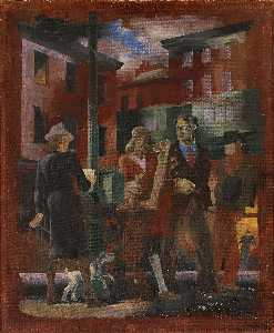 Kindred Mcleary - Scenes of New York Greenwich Village (mural study, Madison Square Postal Station, New York City)