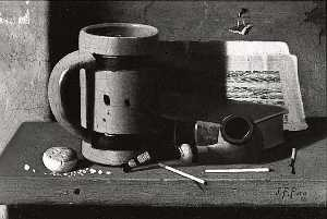 John Frederick Peto - Tankard, Pipe, Matches and Biscuit, (painting)