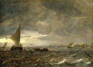 Jan Van Goyen - Fishing Boats in an Estuary at Dusk