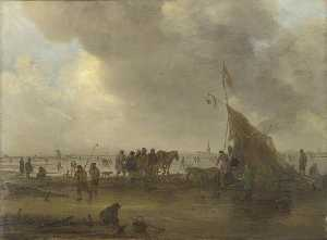 Jan Van Goyen - A Scene on the Ice by a Drinking Booth A Village in the Distance