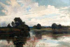Alfred East - Warnham Lake, Sussex