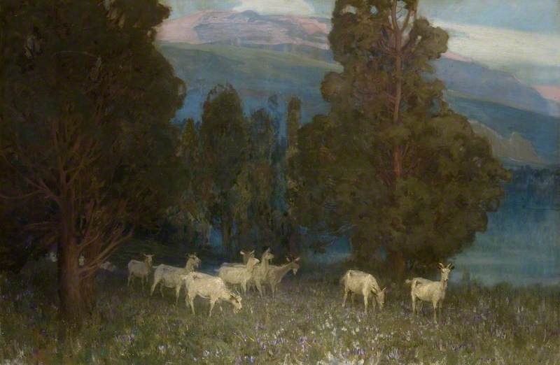 Early Dawn on Monte Mottarone, Lake Maggiore, Italy, 1900 by Alfred East (1844-1913) | Museum Quality Reproductions | WahooArt.com