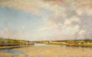 Alfred East - Hayle from Lelant, Cornwall