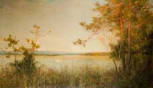 Alfred East - Reedy Mere and Sunlit Hills