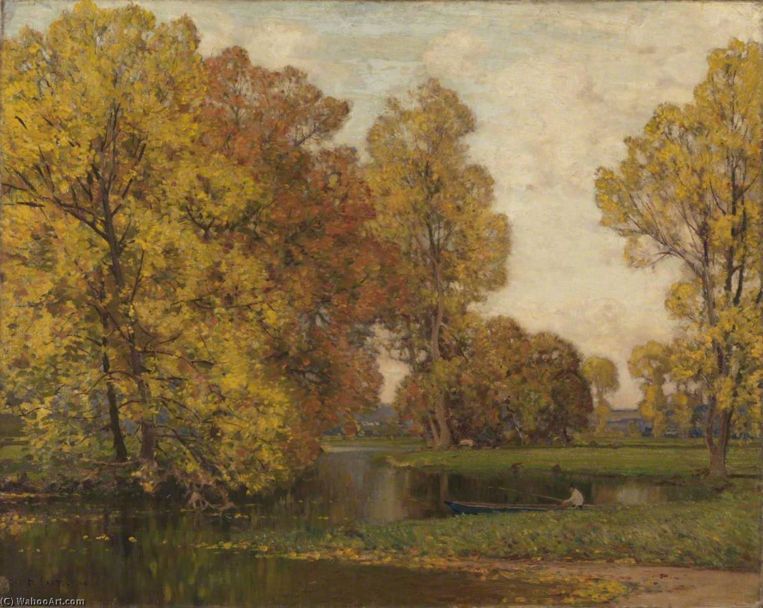 Golden Autumn, 1904 by Alfred East (1844-1913) | Art Reproduction | WahooArt.com