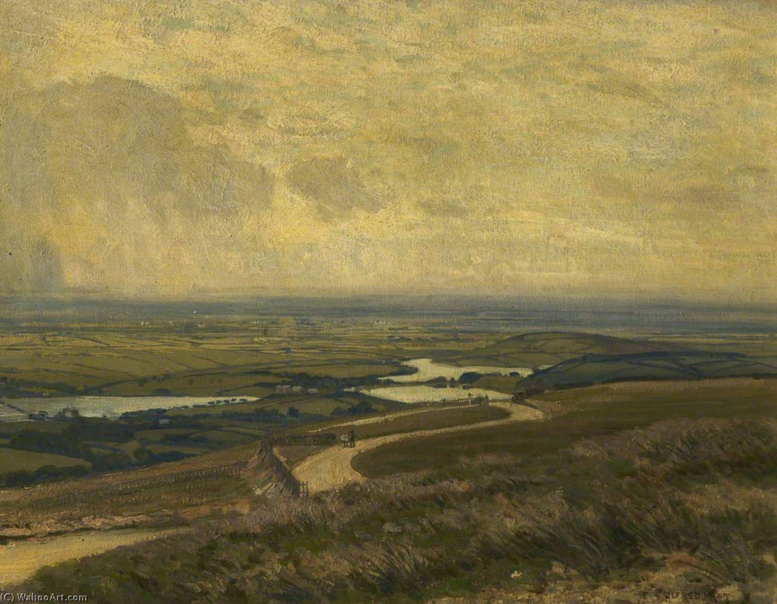 View from the Bungalow, Rivington, 1911 by Alfred East (1844-1913) | Reproductions Alfred East | WahooArt.com
