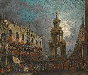 Francesco Zanin - Venice, a view of the piazzetta at carnival