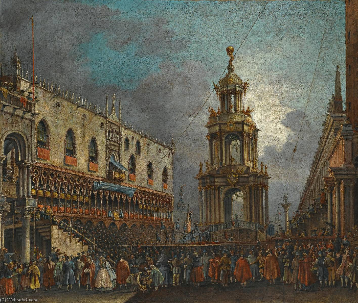 Venice, a view of the piazzetta at carnival, Oil On Canvas by Francesco Zanin