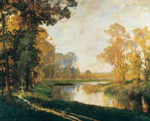 Alfred East - Afternoon on the River Somme, France