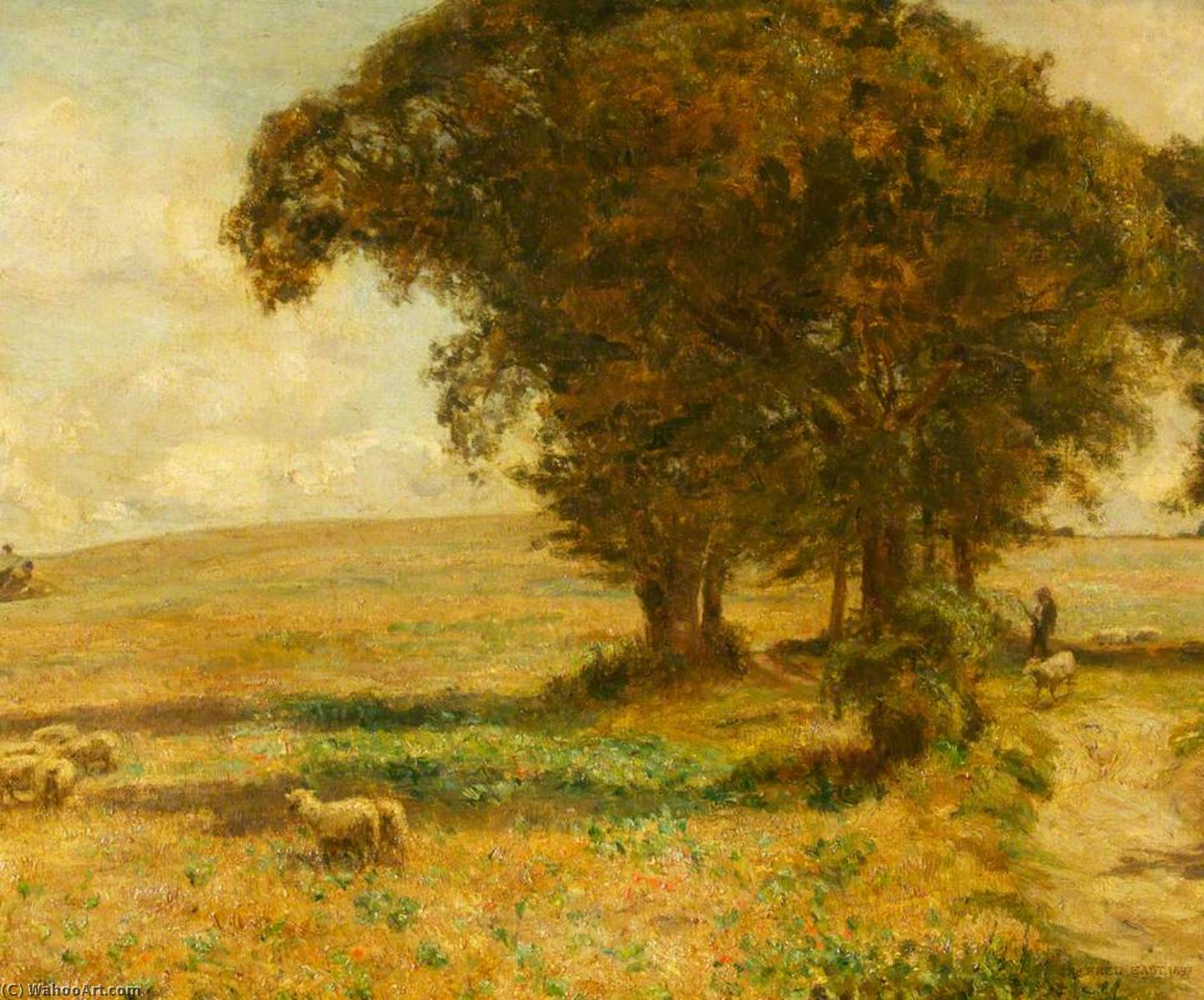 Pastoral Scene by Alfred East (1844-1913) | Art Reproduction | WahooArt.com