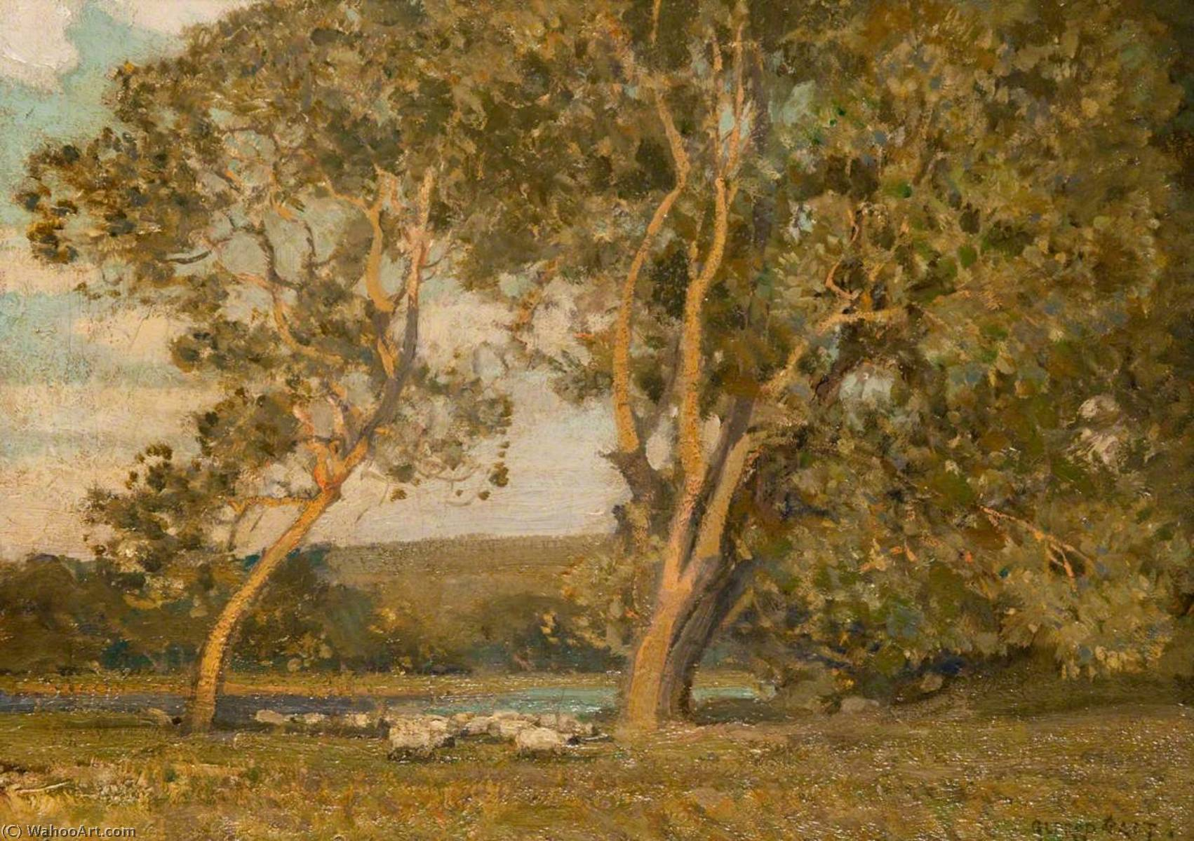 In the Water Meadows by Alfred East (1844-1913) | Famous Paintings Reproductions | WahooArt.com