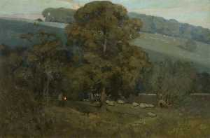 Alfred East - Moonlight in the Cotswolds