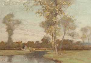 Alfred East - On the Cole, Yardley Woods