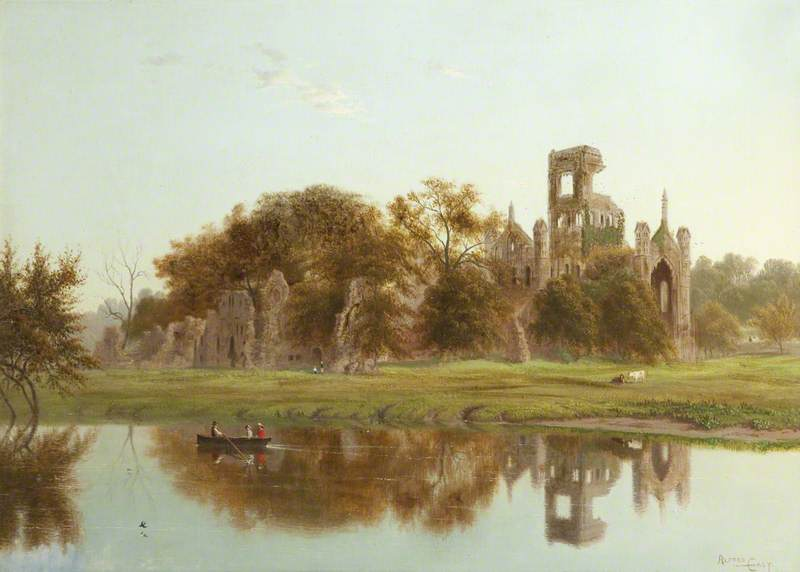 Kirkstall Abbey by Alfred East (1844-1913) | Museum Quality Reproductions | WahooArt.com