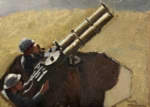 Keith Henderson - Study of Royal Air Force Machine Gunmen