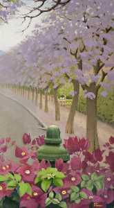 Keith Henderson - Bougainvillea and a Jacaranda Avenue