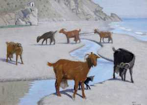 Keith Henderson - Goats on the Shore