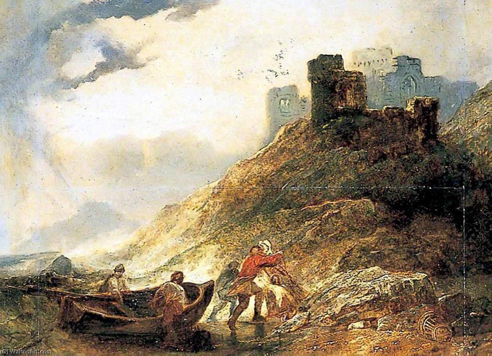 Landing at East Cliff, Dover, Kent, Oil On Canvas by Alfred Clint