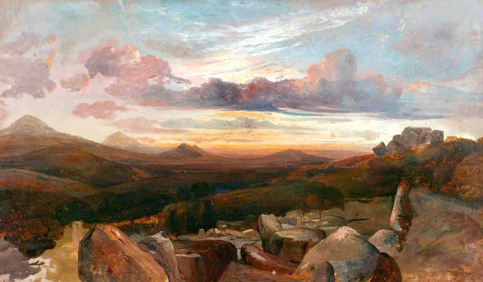 Landscape with Mountains and Rocks, Oil On Canvas by Alfred Clint