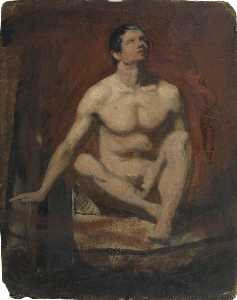 William Etty - Seated Male Nude, Frontal View (recto)