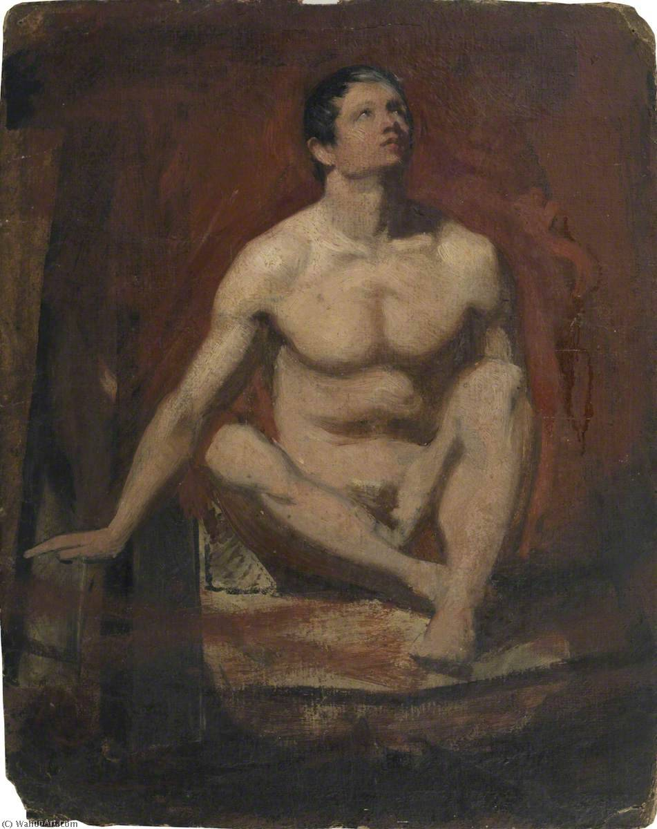 Seated Male Nude, Frontal View (recto), 1845 by William Etty (1787-1849, United Kingdom) | Famous Paintings Reproductions | WahooArt.com
