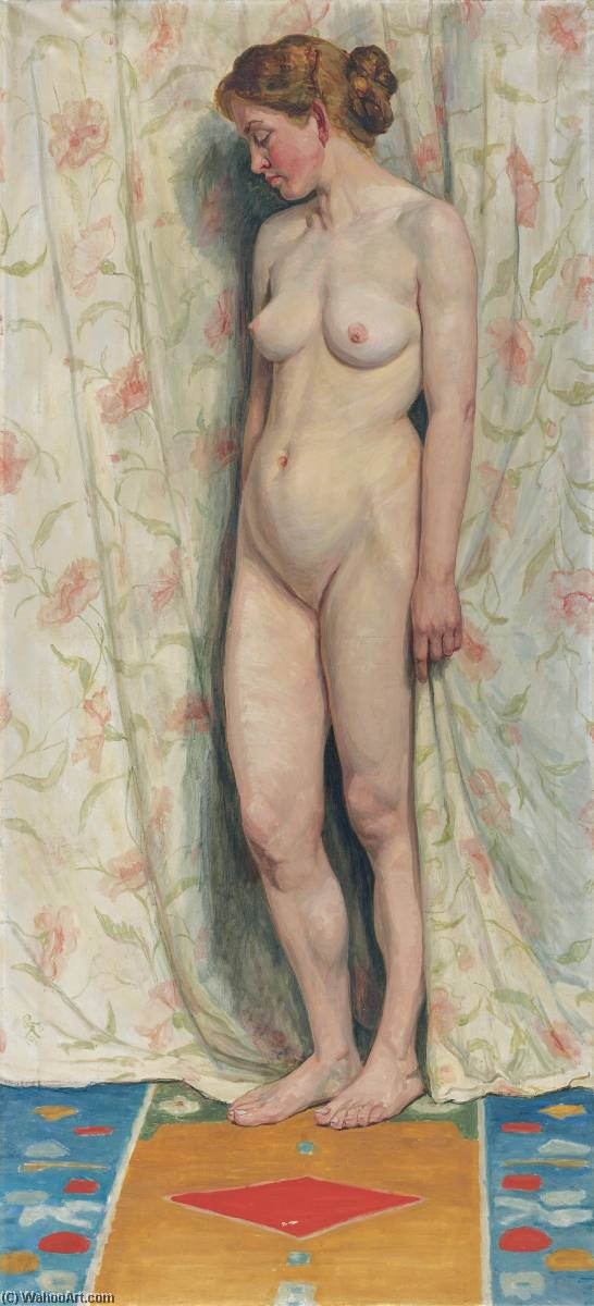 STEHENDER WEIBLICHER AKT, 1904 STANDING FEMALE NUDE , 1904 by Sigismund Righini | Museum Quality Reproductions | WahooArt.com