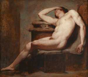 William Etty - Academic Study of a Reclining Male Nude Asleep