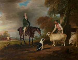 John E Ferneley I - Sir John Palmer on His Favourite Mare with His Shepherd, John Green, and His Prize Leicester Longwool Sheep