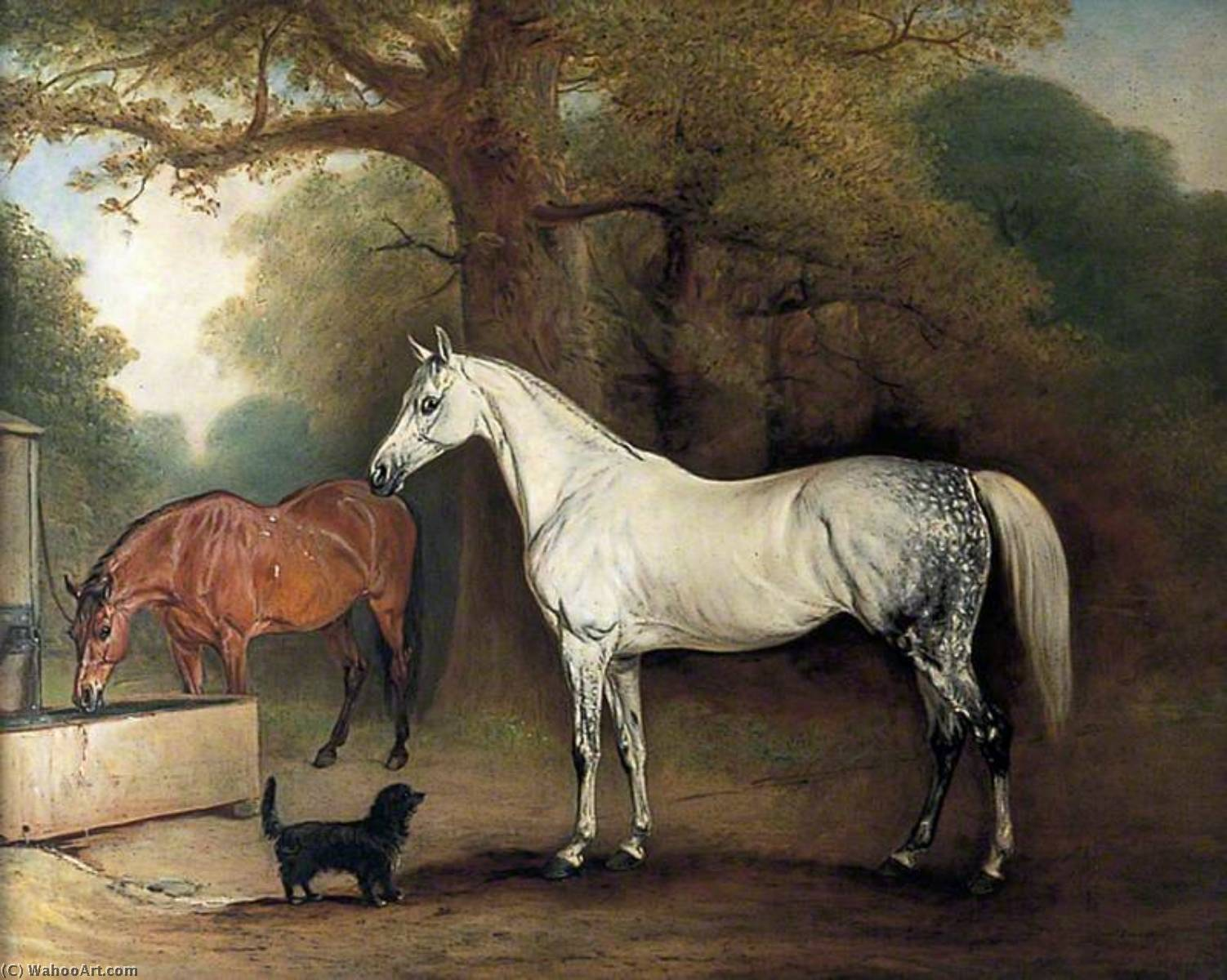 Two Horses and a Dog, 1845 by John E Ferneley I (1782-1860) | Famous Paintings Reproductions | WahooArt.com