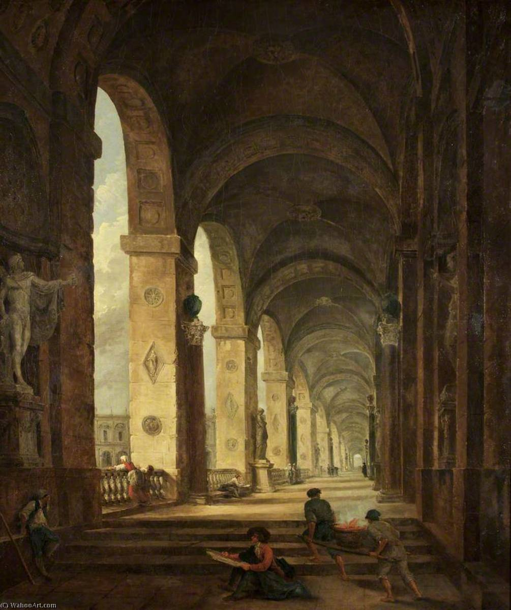 A Capriccio of Roman Architecture, Oil On Canvas by Hubert Robert (1733-1808, France)