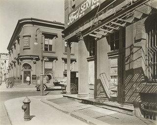 Corner of East 10th Street and Avenue D, Manhattan, Print by Berenice Abbott (1898-1991, United States)