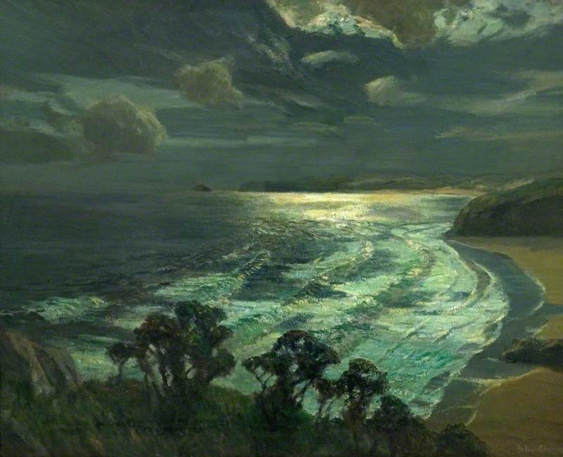 Moonlight, St Ives` Bay, Cornwall, 1937 by Albert Julius Olsson | Art Reproductions Albert Julius Olsson | WahooArt.com