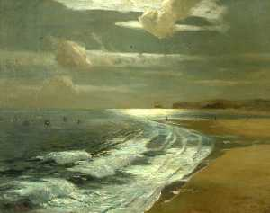 Albert Julius Olsson - Silver Moonlight, St Ives Bay