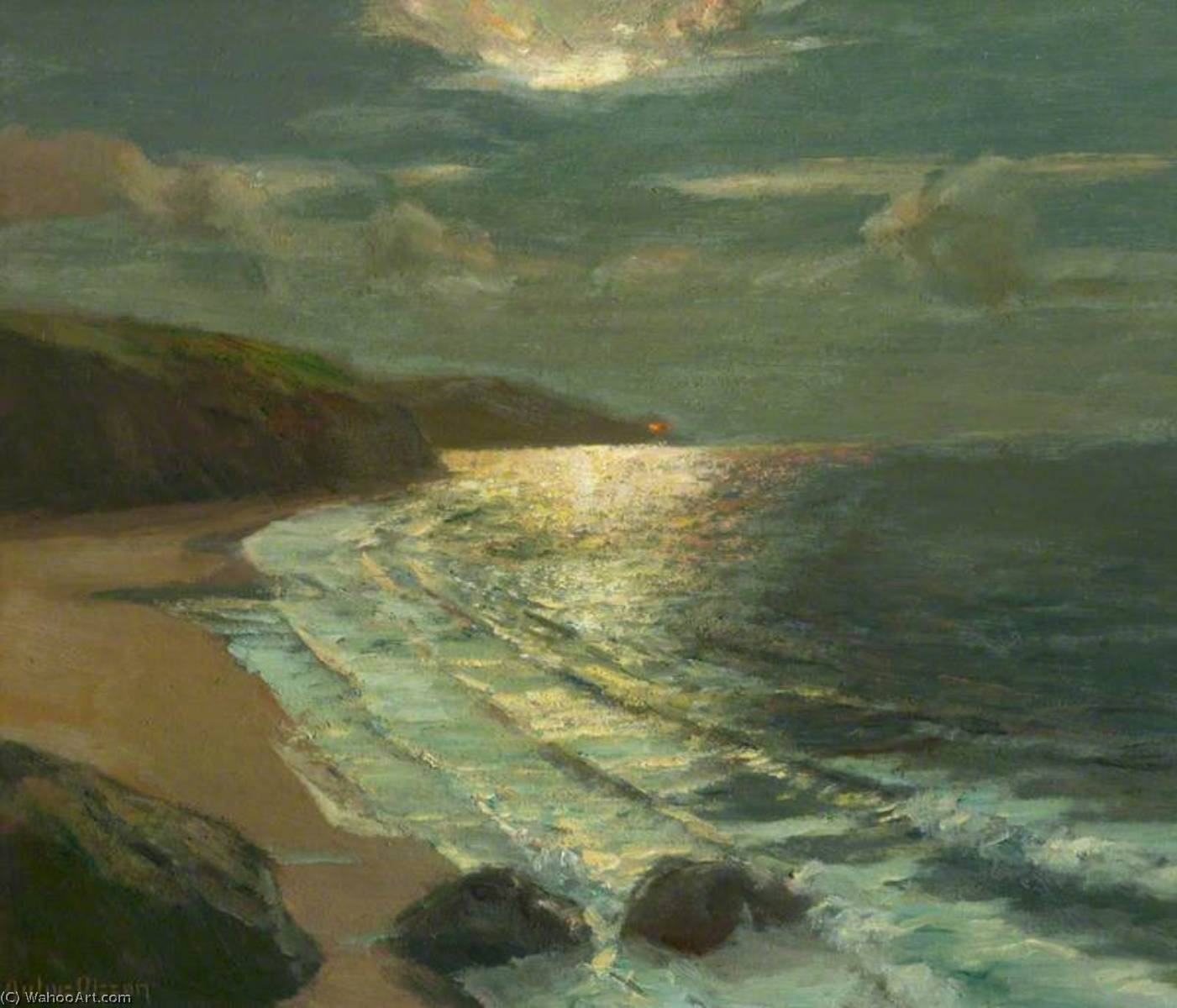 Order Reproductions | Moonlight on the Coast by Albert Julius Olsson | WahooArt.com