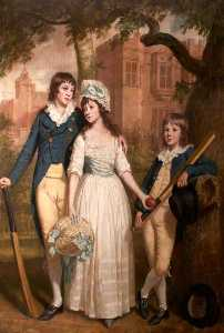 Thomas Beach - William, Mary Ann, and John De la Pole as Children (Sir William Templer Pole, 1782–1847, 7th Bt, Mary Ann Pole, b.1783, and John George Pole, 1787–1803)