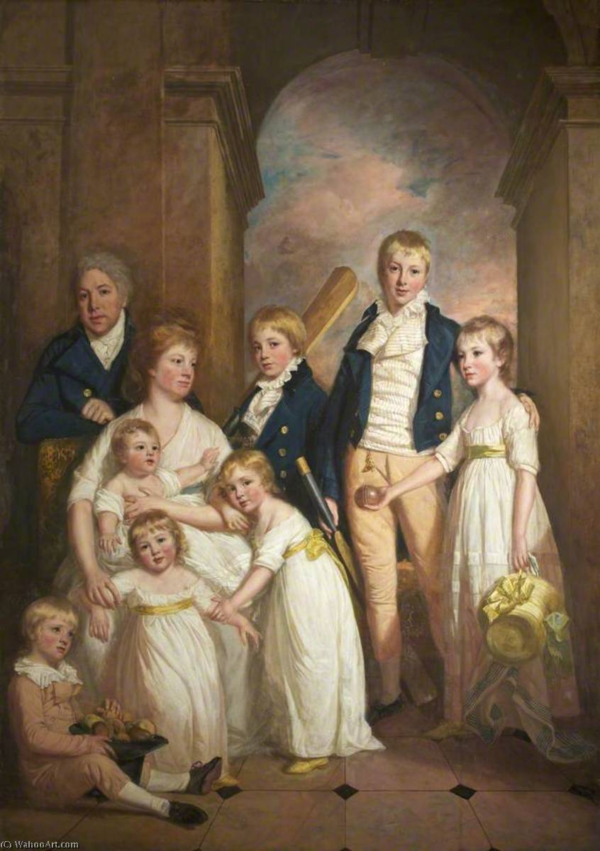 Thomas Tyndall with Wife and Children, 1800 by Thomas Beach | Reproductions Thomas Beach | WahooArt.com