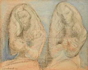 Dame Barbara Hepworth - Two Girls with Teacups