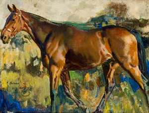 Alfred James Munnings - The Bay Horse, 'Patrick', Bought in Dublin with Grey Mare